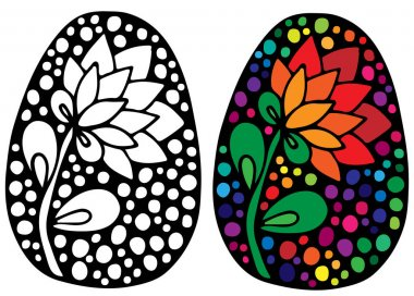 Easter egg with colorful flower for coloring book