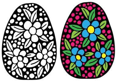 Hand drawn Easter egg with colorful flower