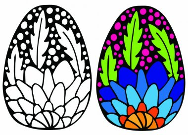 Easter egg with blue flower for coloring book