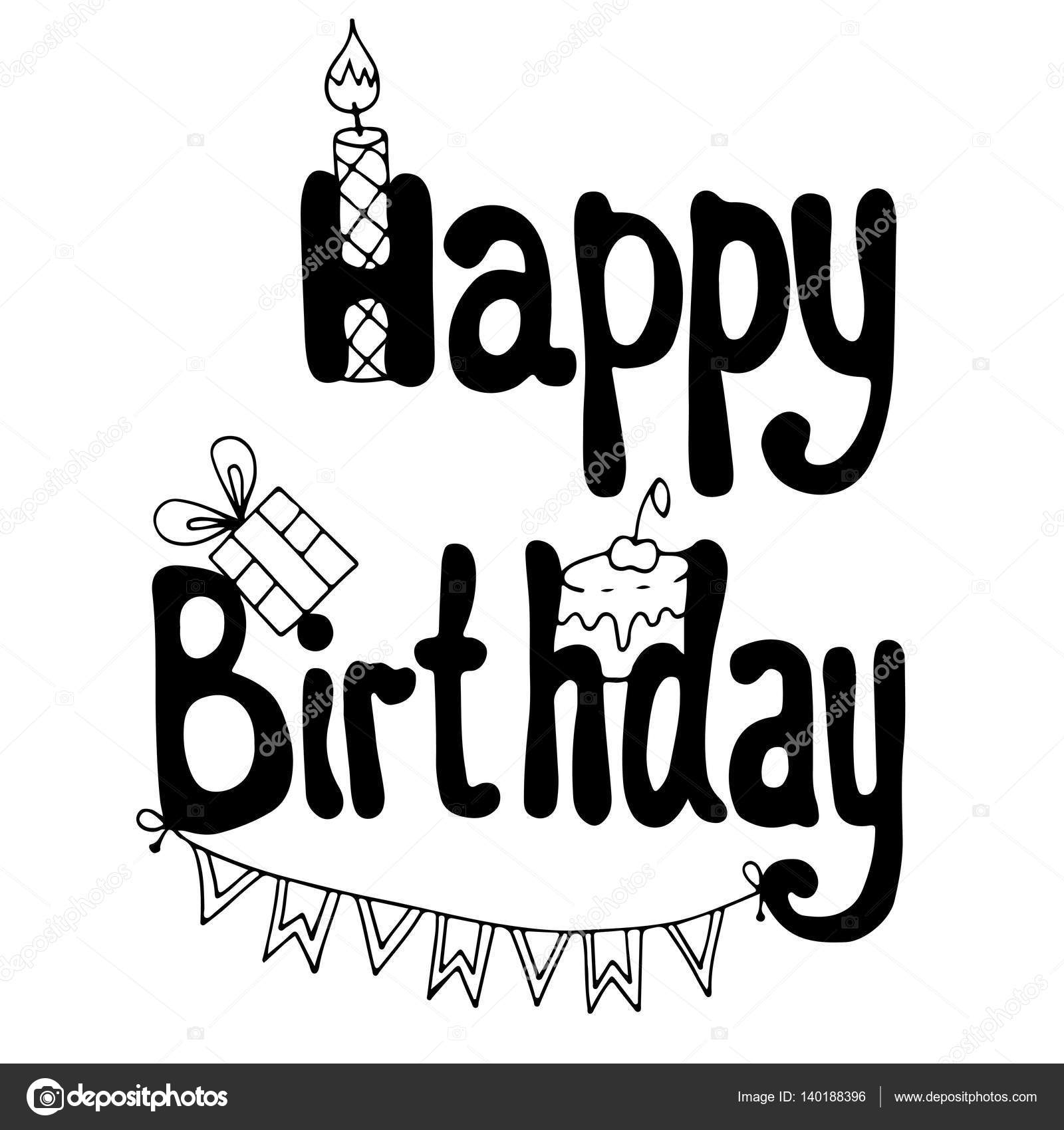 Happy Birthday Lettering With Cake Gift And Candle Stock Vector