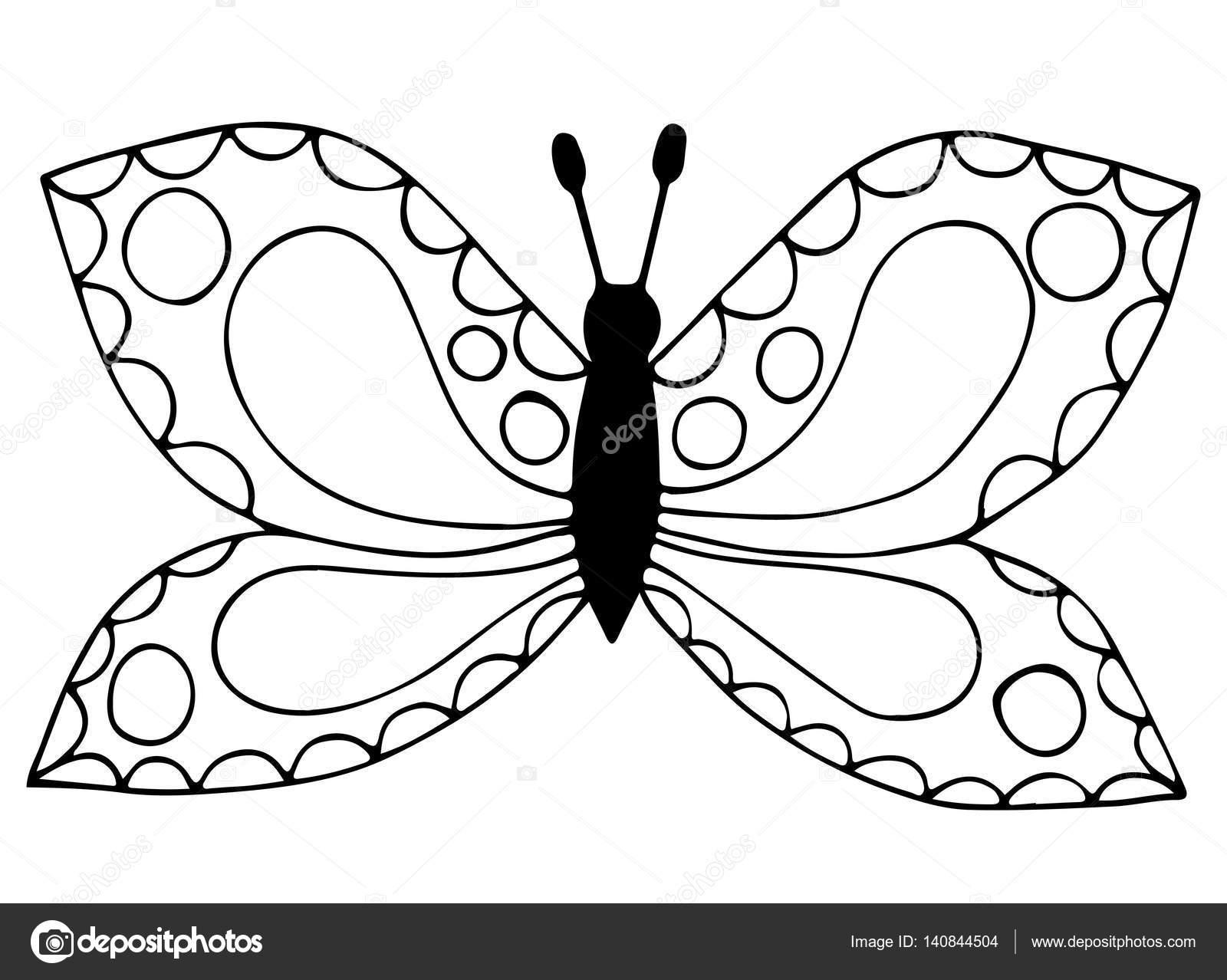 塗り絵の黒い線蝶を抽象的なタトゥー ストックベクター Ellina200