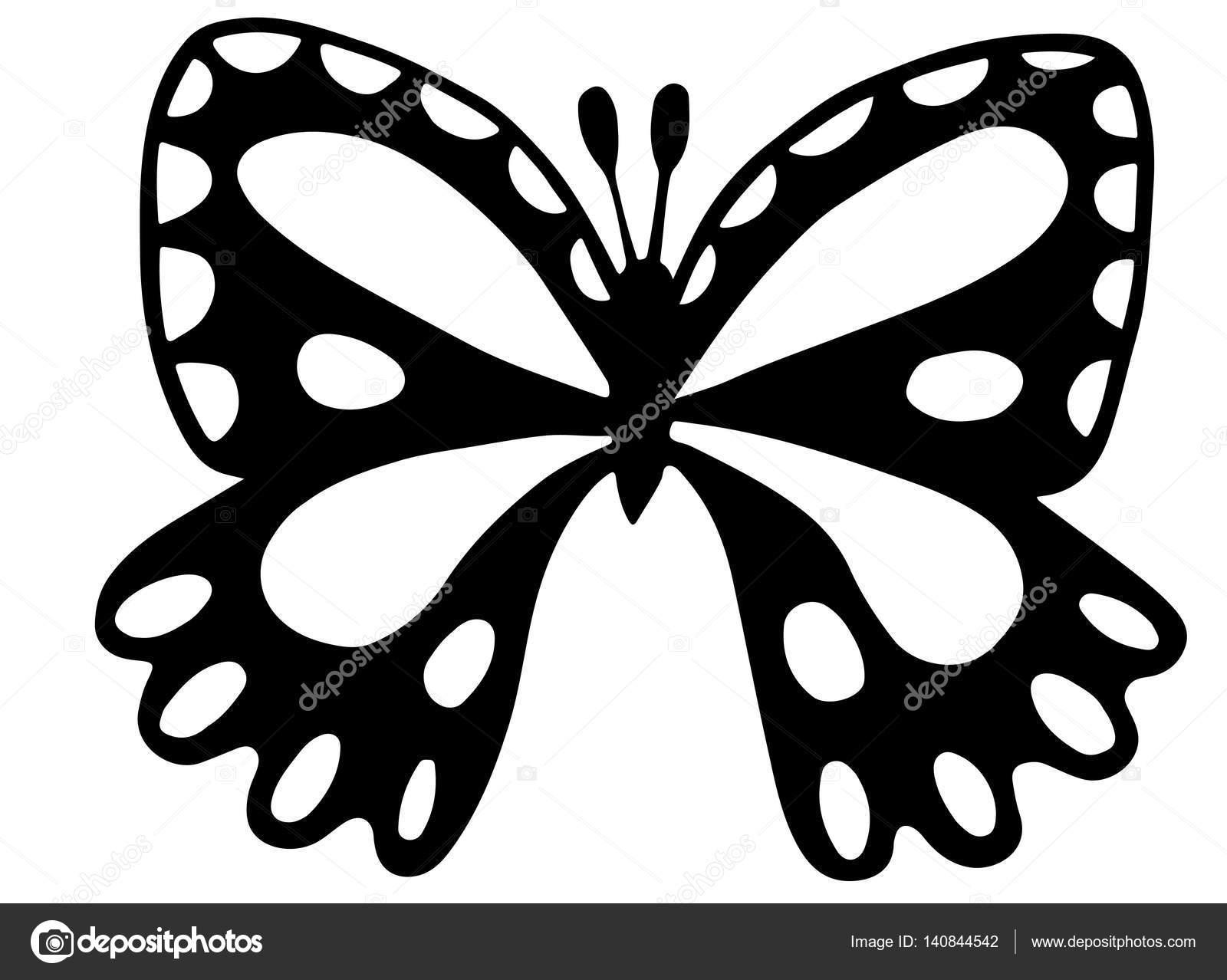 Kelebek Boyama Kitabı Için Siyah Dövme Stok Vektör Ellina200