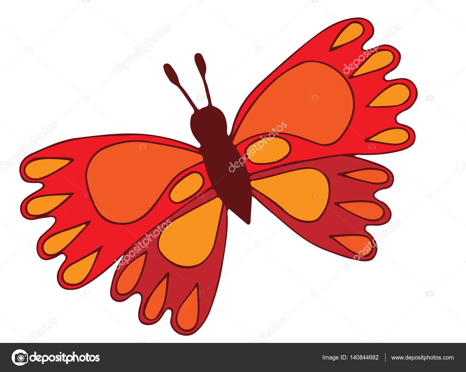 Mariposa roja para colorear libro, tatuaje — Vector de stock ...
