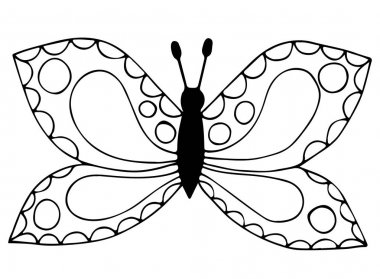 Abstract black line butterfly for coloring book, tattoo