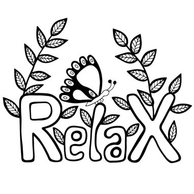 Black line Relax inscription with butterfly and leaves