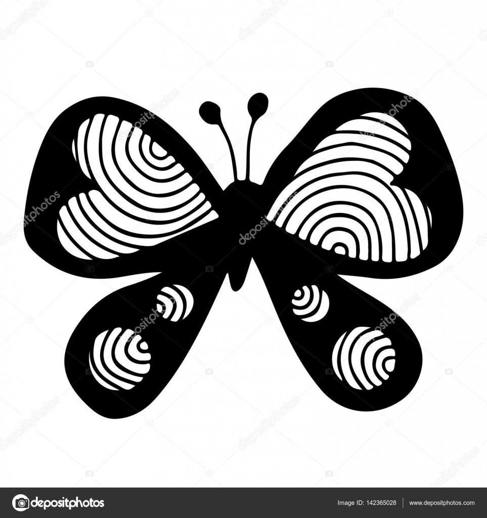 Siyah Kelebek Kanat Kalpli Stok Vektör Ellina200 At Mailru 142365028