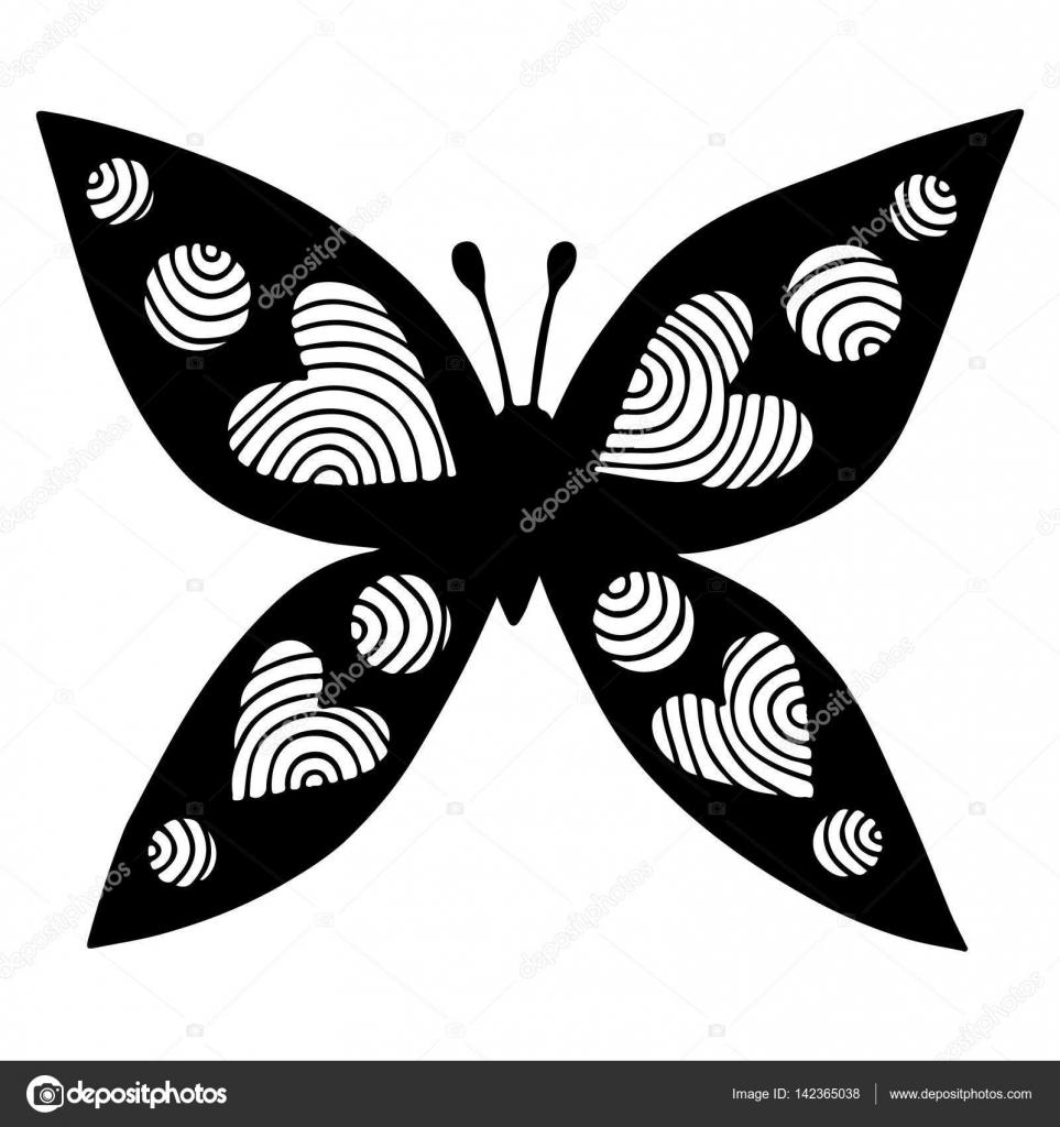 Siyah Kelebek Kalp Dövme Boyama Kitabı Için Kanat Ile Stok Vektör