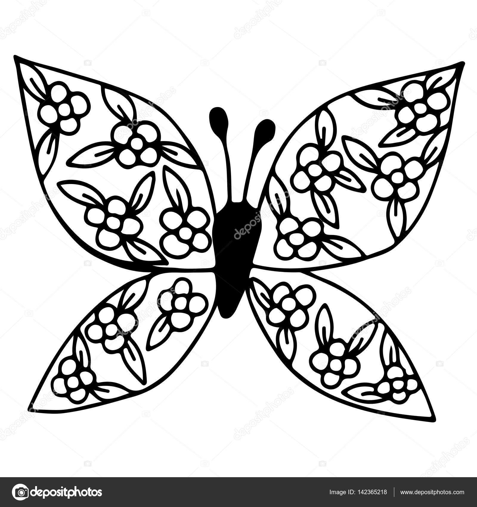 Siyah çizgi Kelebek Kanat çiçekli Stok Vektör Ellina200 At Mailru