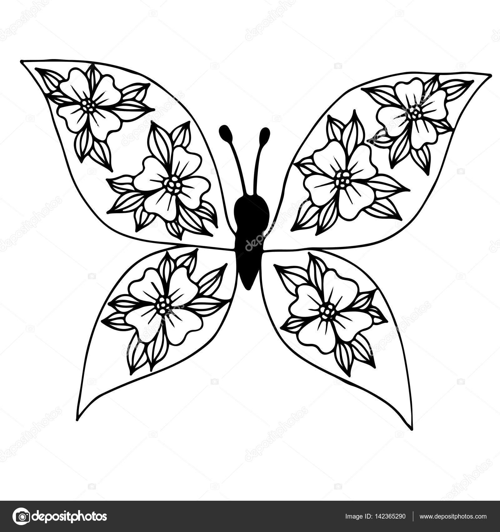 Mariposa línea negra con flores en el ala para el tatuaje, colorin ...