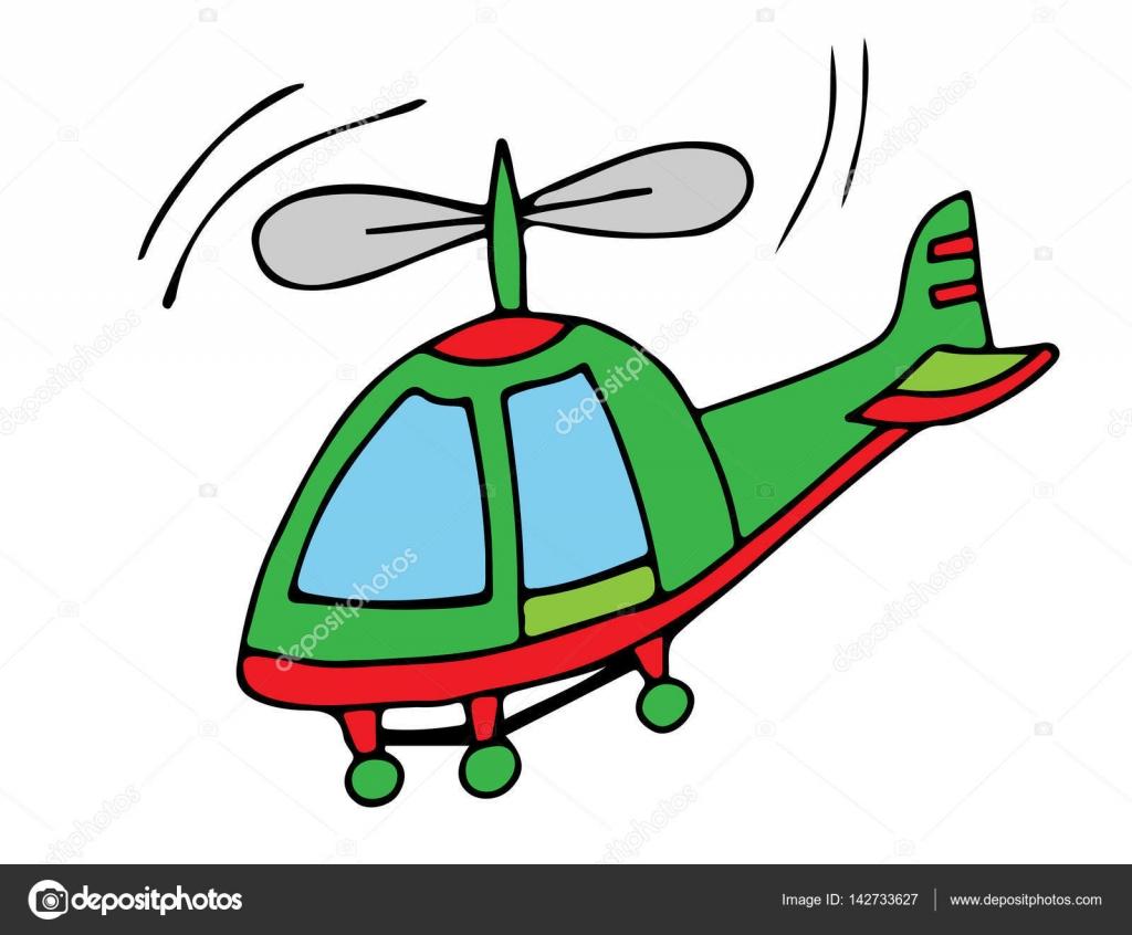 Elicottero colorato su fondo bianco per libro da colorare for Scarica clipart