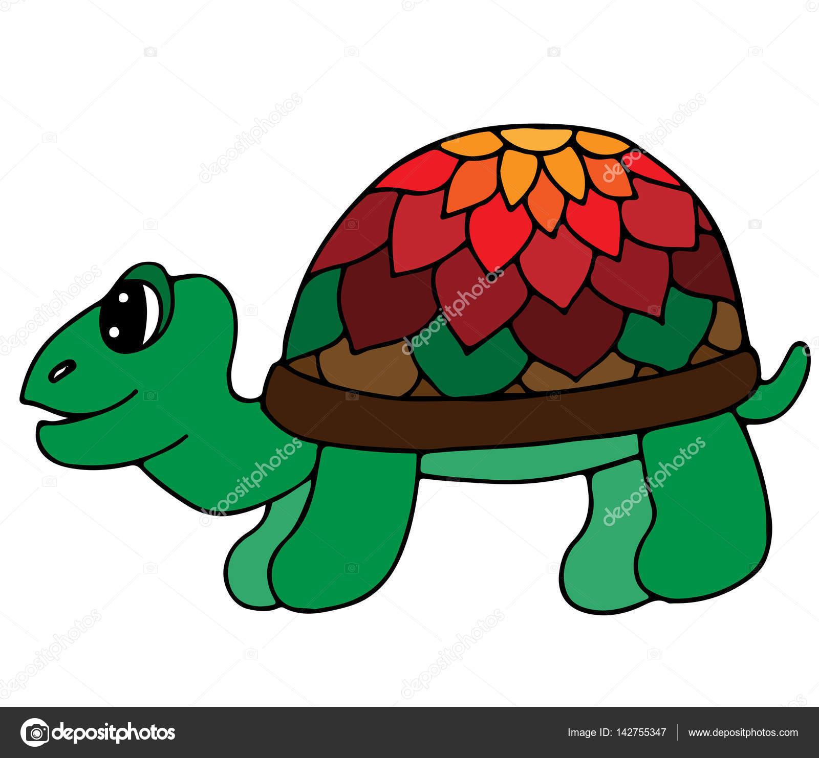Linda tortuga colores aislado sobre fondo blanco — Vector de stock ...