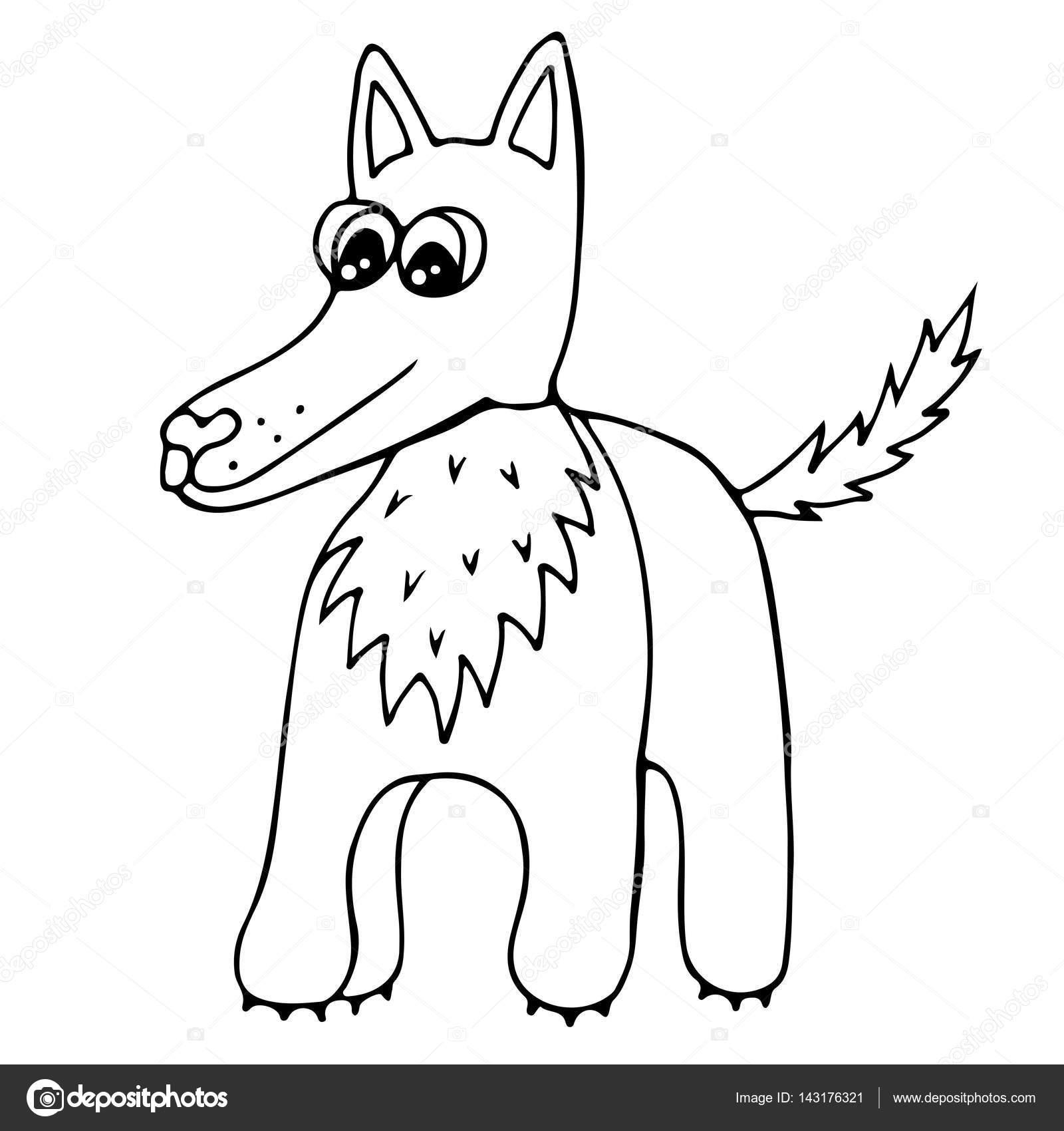 Lindo lobo aislado sobre fondo blanco — Archivo Imágenes Vectoriales ...