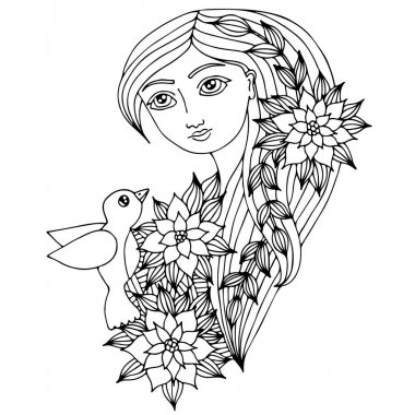 Portrait of a beautiful girl with long hair with bird, flower an