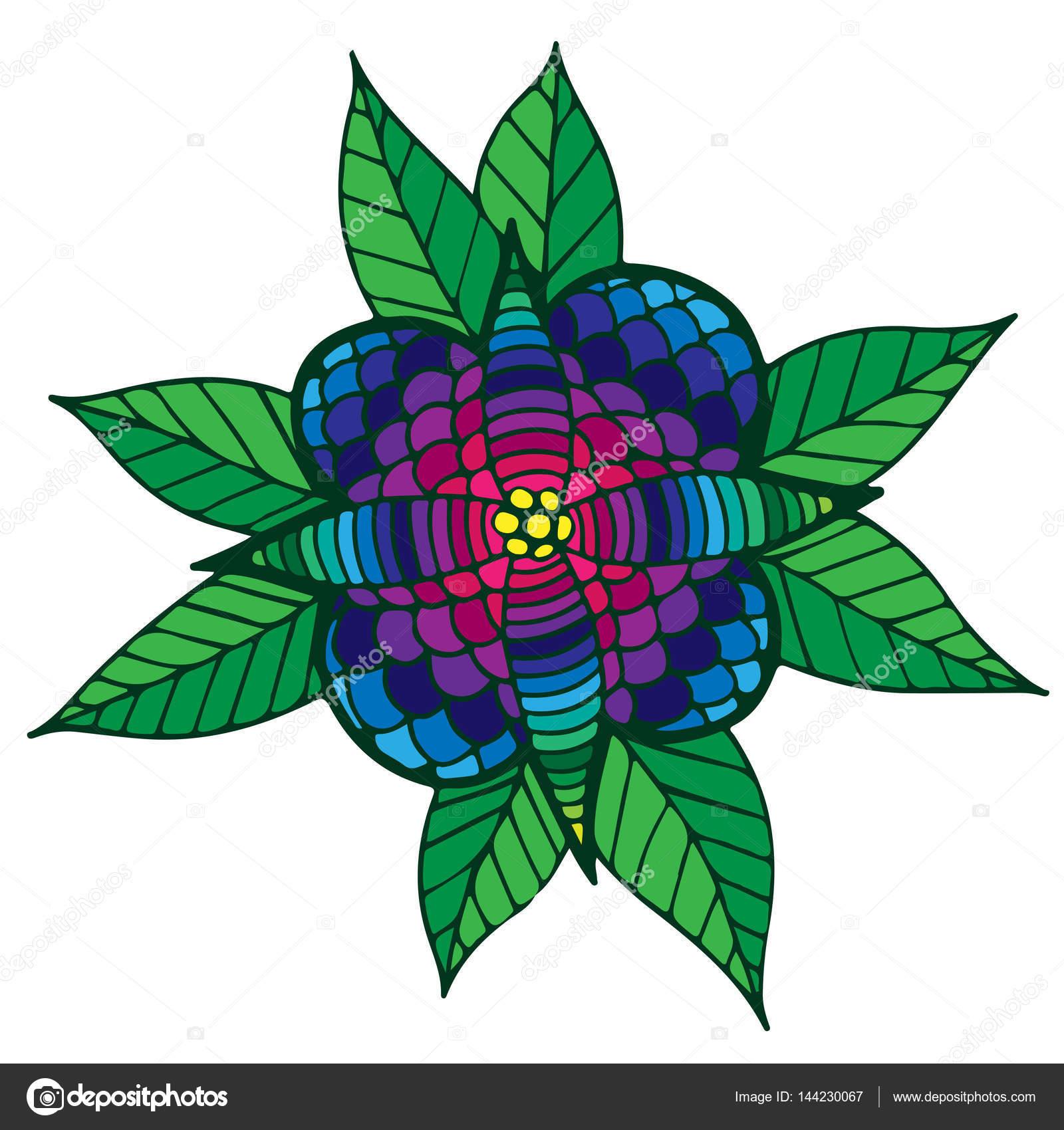 Flores abstractas de colores con hojas para adulto o niño para ...