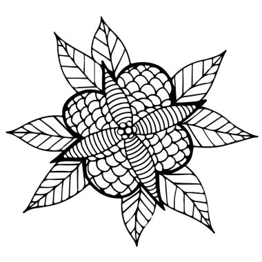 Black line abstract flower with leaves for adult or child colori