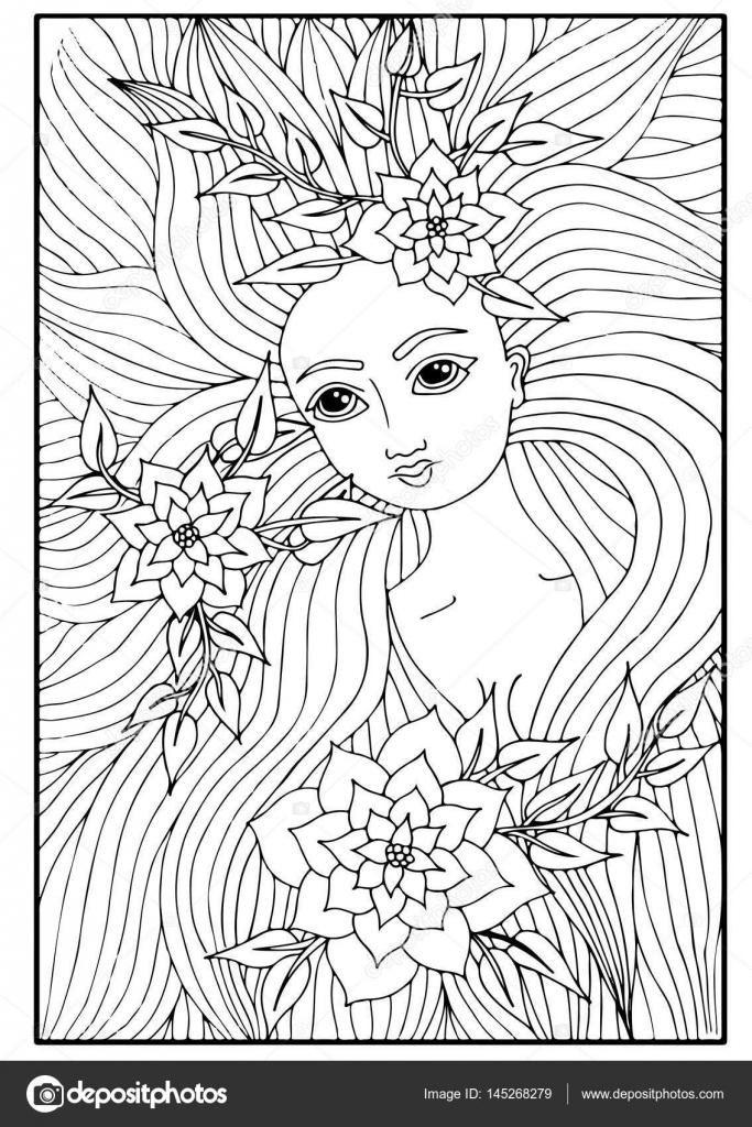 Retrato de una hermosa chica con el pelo largo con la flor y dejar ...