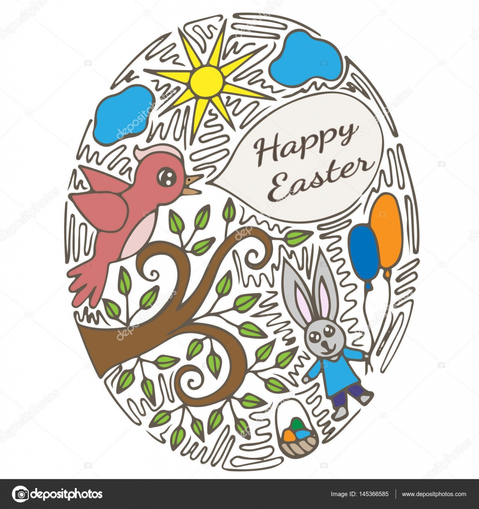 picture regarding Printable Easter Card referred to as Printable Easter card with fowl and rabbit inside ornate body