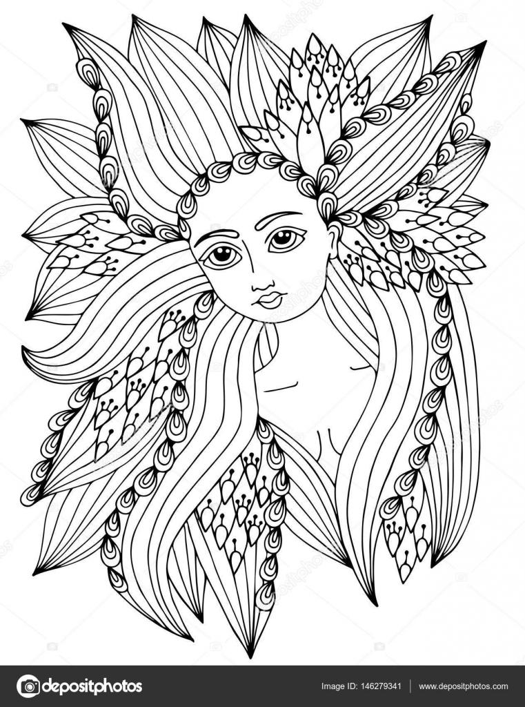 Retrato de mujer de belleza con patrón abstracto recargado en la h ...