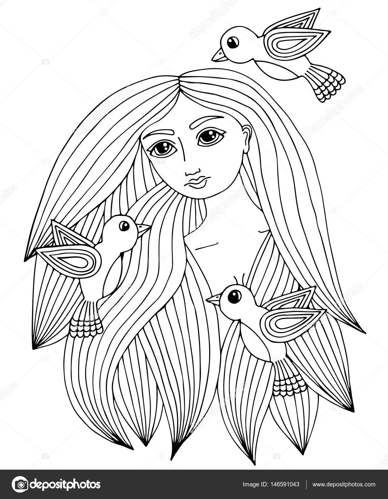 üç Küçük Kuş Ile Güzel Bir Kızın Portresi Stok Vektör Ellina200