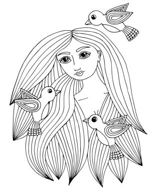Portrait of a beautiful girl with three little bird