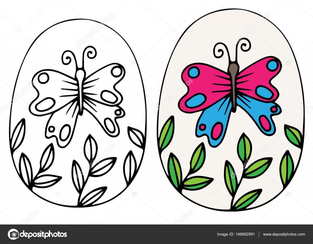 Vector de huevo de Pascua de dibujado a mano con mariposa y hojas ...