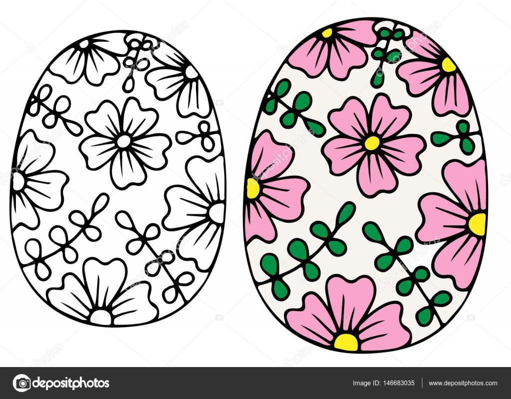 Mano dibujado vector de huevo de Pascua con flores pequeñas de color ...
