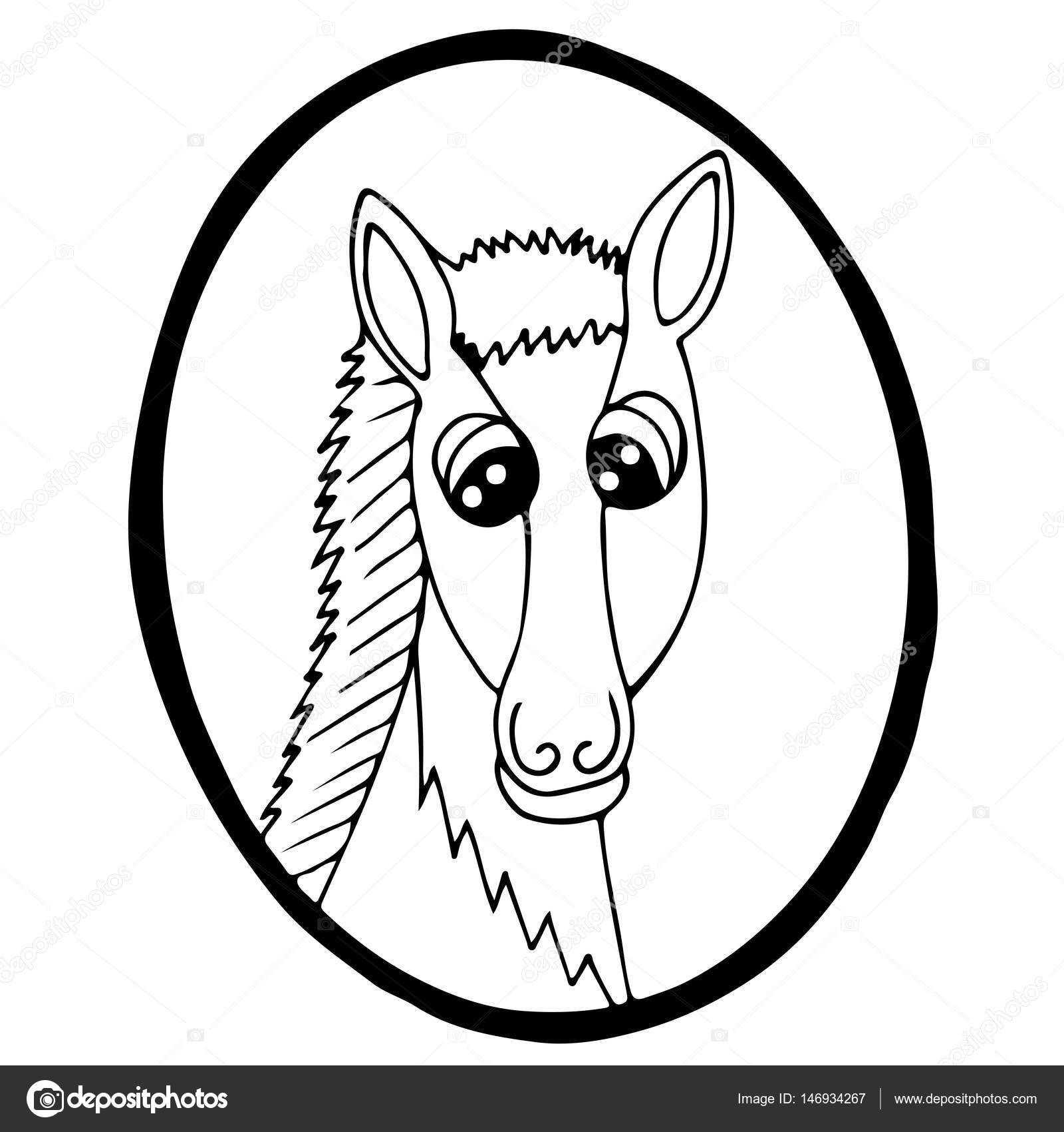 Caballo cabeza de dibujos animados en el marco — Vector de stock ...