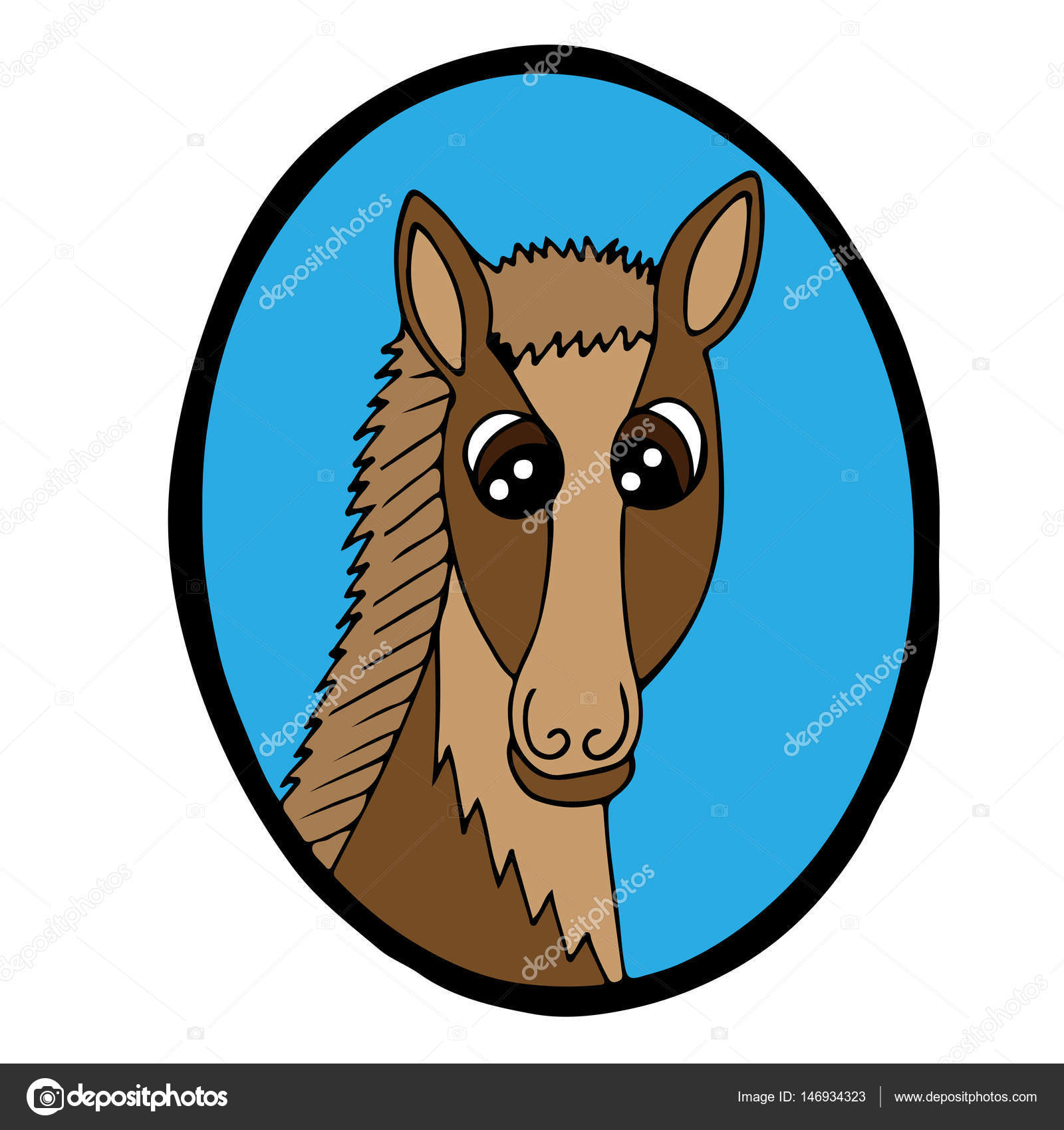 Cartoon Kopf braunes Pferd im blauen Rahmen — Stockvektor ...