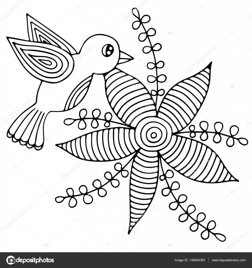 Flor de pájaro y abstracto con hojas para adulto o niño para ...