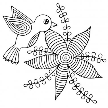 Bird and abstract flower with leaves for adult or child coloring