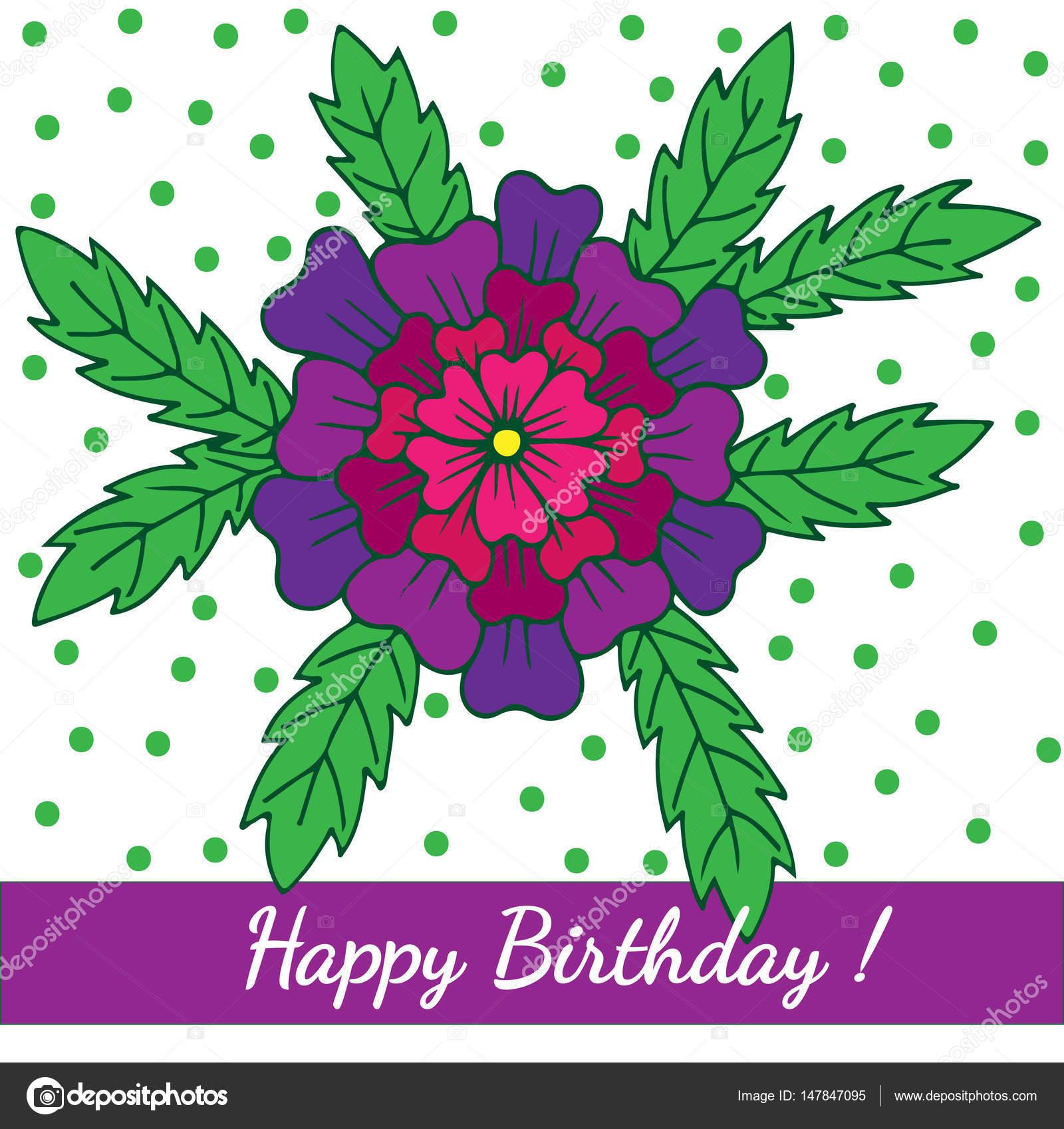 Feliz cumpleaños plantilla de tarjeta de felicitación con flor ...