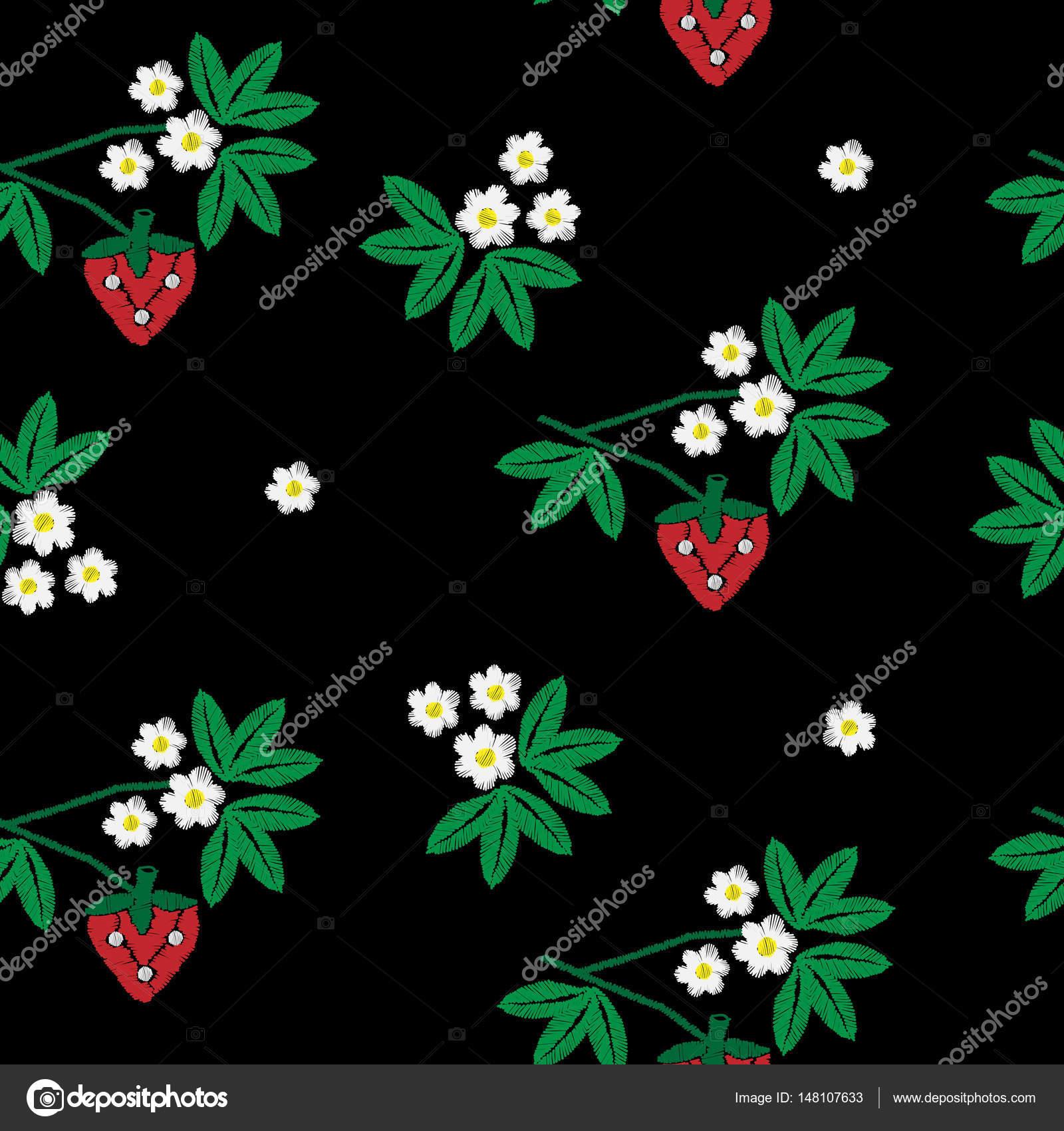 Bordado sin fisuras patrón fresa y flor con verde lea — Archivo ...