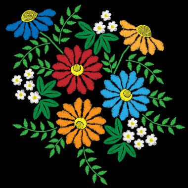 Embroidery stitches imitation with colorful flower with green le