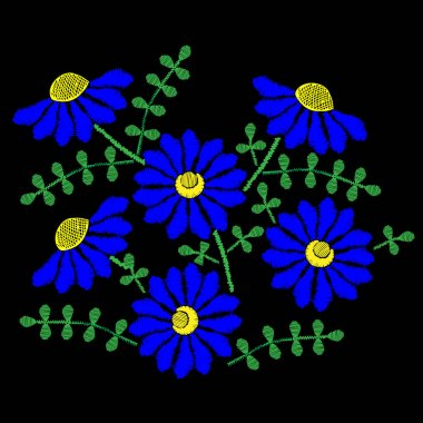 Embroidery stitches imitation with blue flower and green leaf