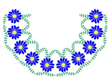 Embroidery stitches imitation frame with bright blue flower and