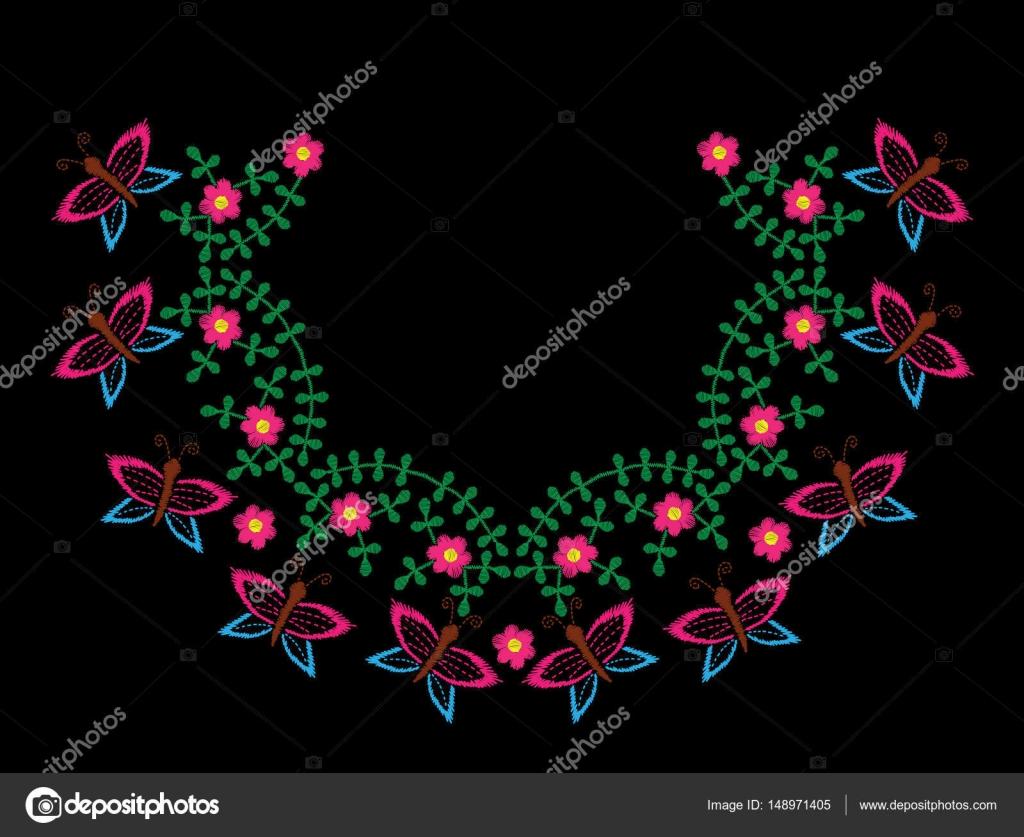 Marco imitación de puntadas de bordado con mariposa y flujo rosado ...