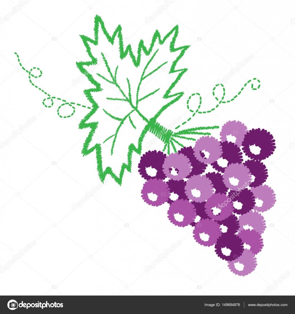 Vid con uvas y hojas patrón bordado puntadas imitatio — Archivo ...