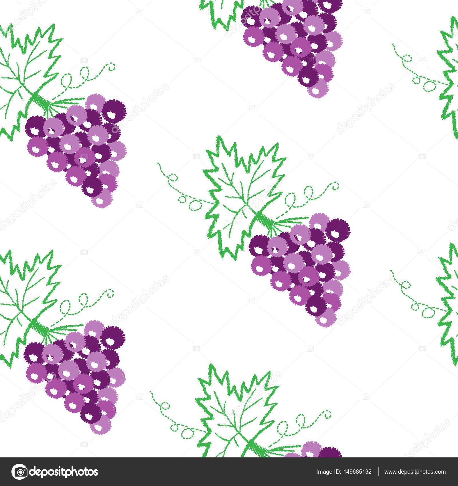 Vid con uvas y hojas de puntadas de bordado patrones sin fisuras ...