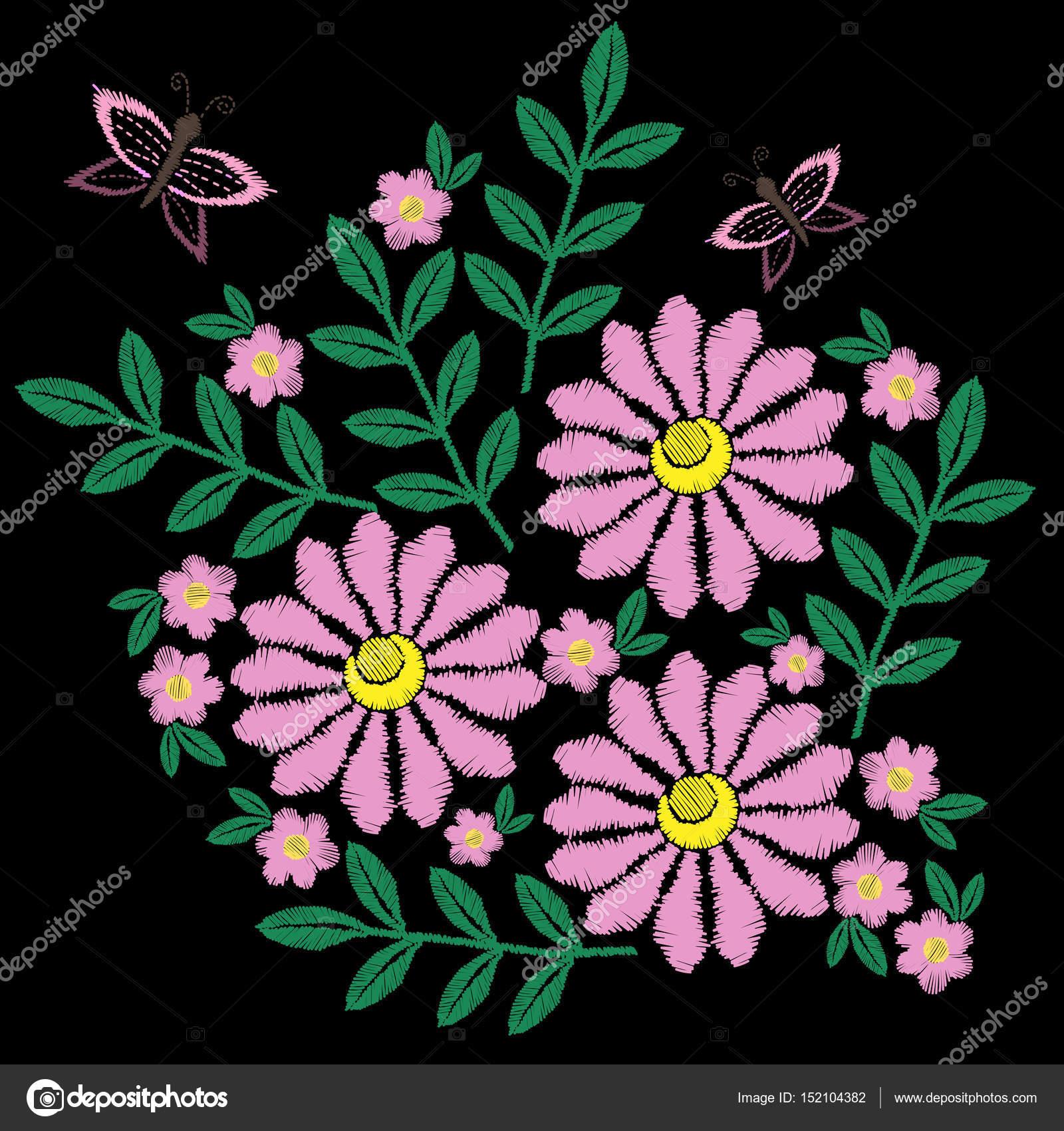 Imitacion De Puntadas De Bordado Flor Y Mariposa Vector De Stock
