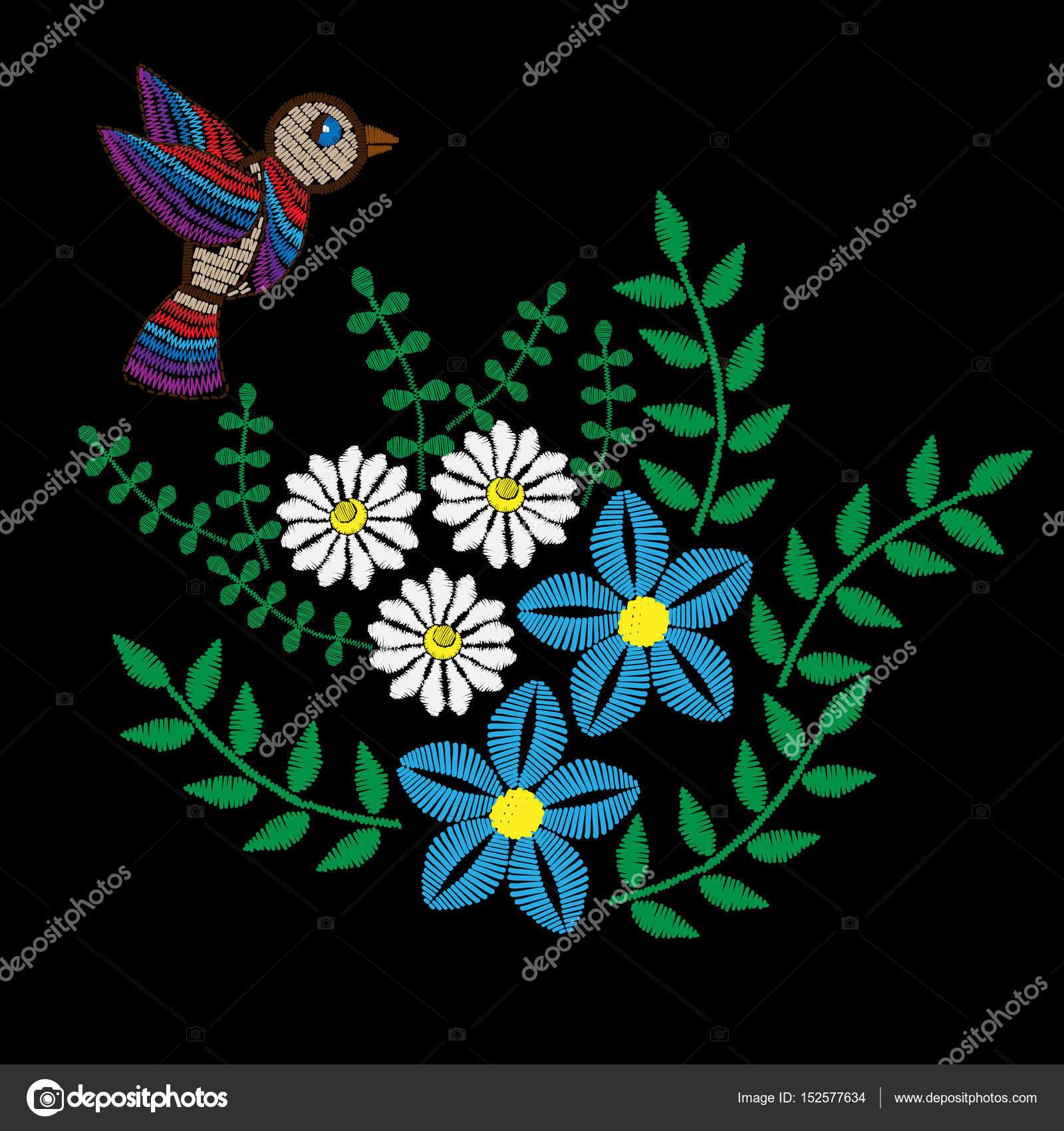 Flores De Colores Con Hojas Y Pajaros Bordados Puntadas Imitacion