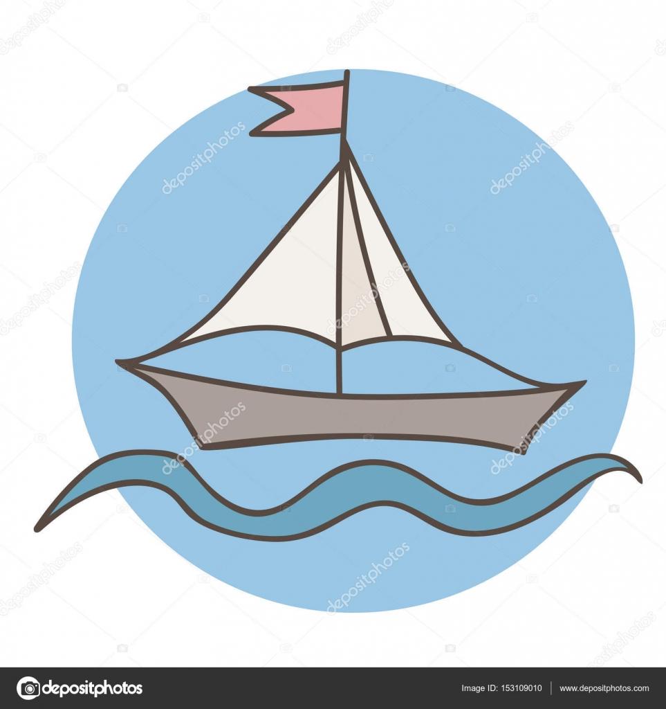 Renkli Gemi Kitap Ve Diğer çocuk Tasarım Boyama Için Bayrak Ile