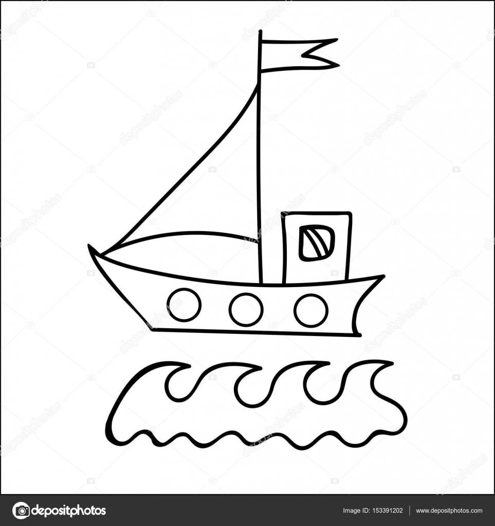 Siyah çizgi Gemi Kitap Ve Diğer çocuk Desi Boyama Için Bayrak Ile