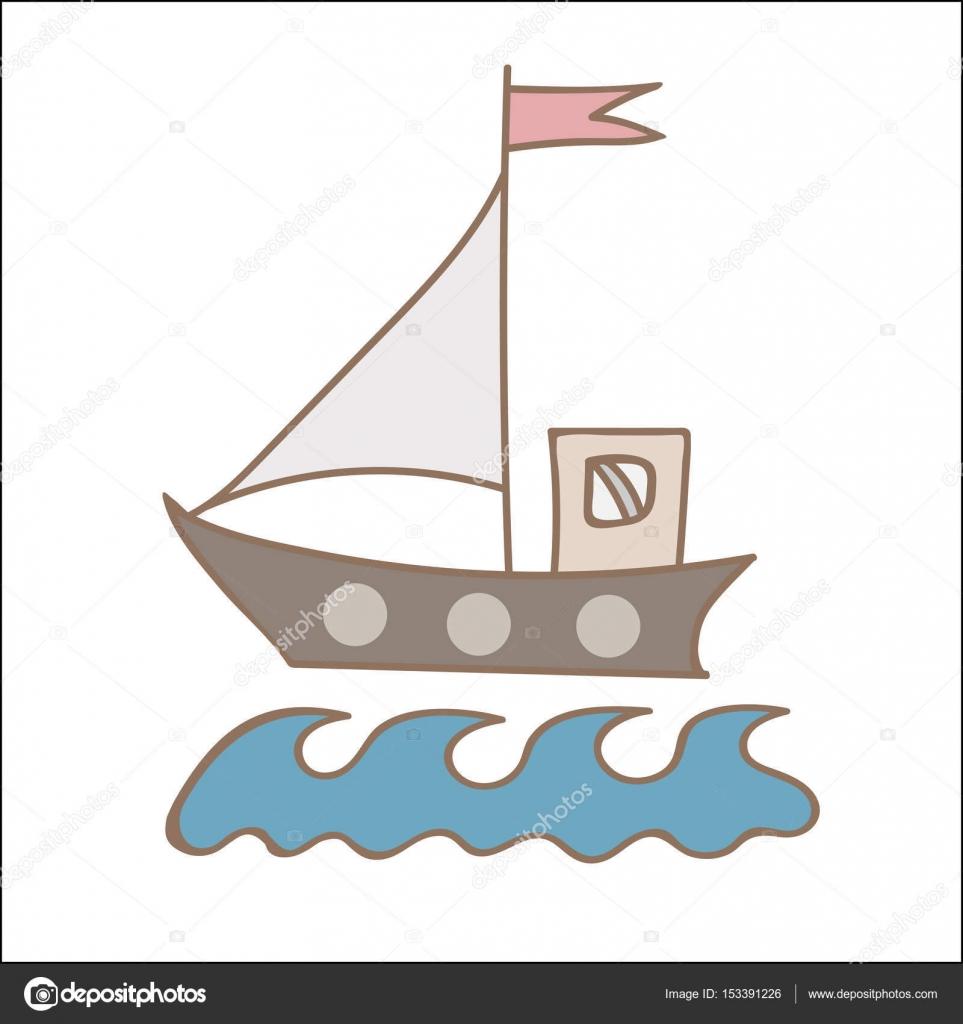 Yumuşak Renk Gemi Kitap Ve Diğer çocuk Desi Boyama Için Bayrak Ile