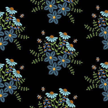 Seamless pattern with embroidery stitches imitation blue flower