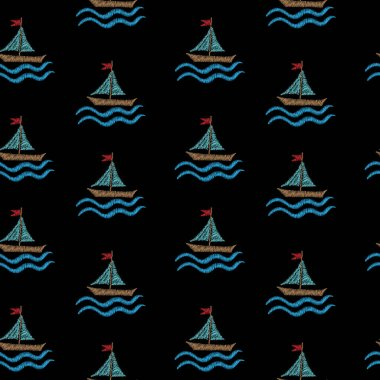 Seamless pattern with embroidery stitches imitation little boat
