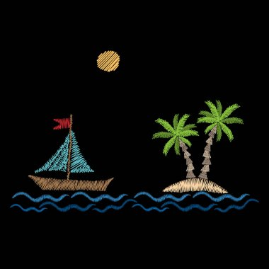 Palm tree with wave, boat and sun embroidery stitches imitation