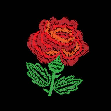 Embroidery stitches imitation one big red roses