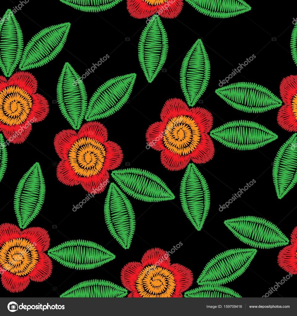 Patrón transparente con flor de imitación de puntadas de bordado. Patrón de  bordado de flor popular para impresión en tela e044a3fb486ca