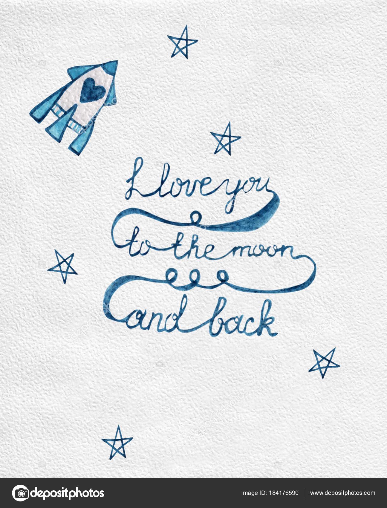 Cool Ich Liebe Dich Bis Zum Mond Beste Wahl Und Zurück Zitat Mit — Stockfoto