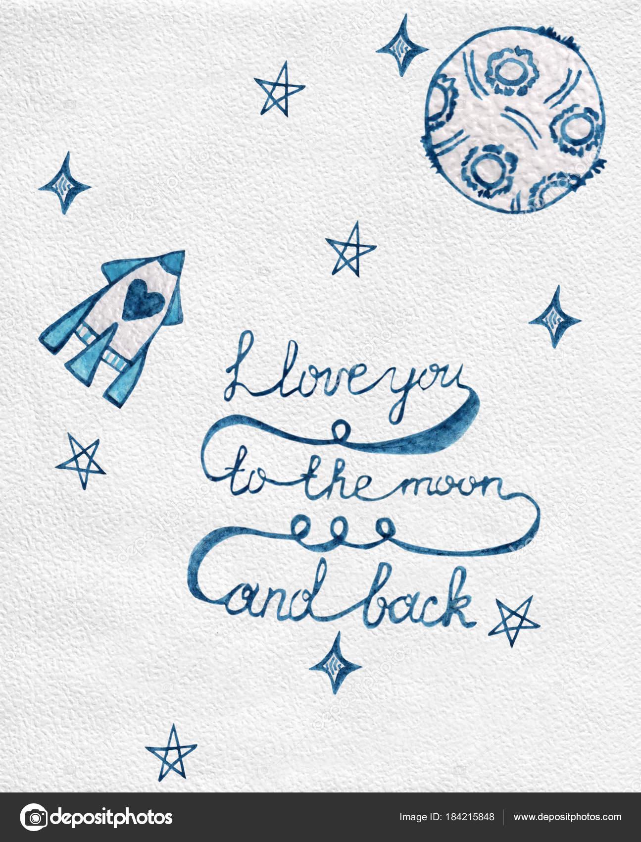 Unglaublich Ich Liebe Dich Bis Zum Mond Referenz Von Und Zurück Zitat Mit — Stockfoto
